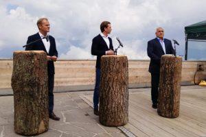 Бойко Борисов, канцлерък Курц и Доналд Туск - приел-предал. СНИМКИ: МС