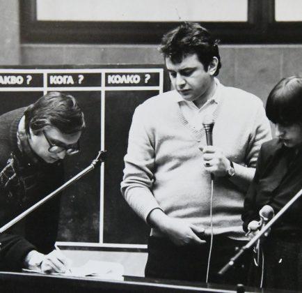 """Евгени Тодоров, Живко Желев и Нери Терзиева, когато правеха """"За 1 милиард""""."""
