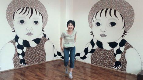 Художничката от Япония Хитен Утами изрисува два големи детски портрета novini-plovdiv-press