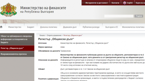 Факсимиле от страницата на Министерството на финансите