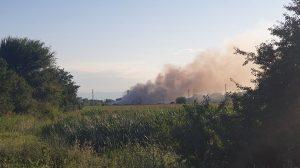 Пожар до Войводиново, вижда се от магистралата.