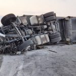 """Тирът, който предизвика катастрофата на АМ """"Тракия"""", Снимка: БГНЕС"""