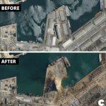 Пристанището в Бейрут преди и след експлозията.