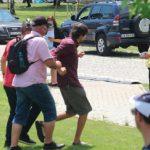 Извеждат младежа, който прекъсна речта на Борисов, снимка: БГНЕС