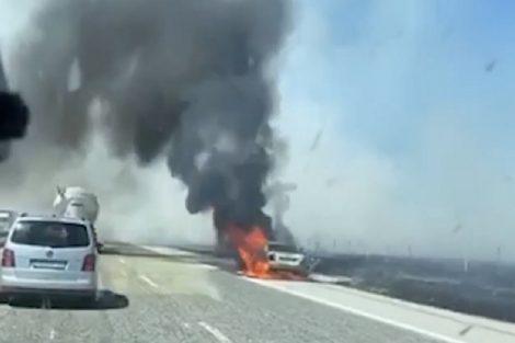 Колата изгоря напълно на магистрала Тракия