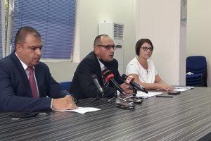 Шефът на полицията Йордан Рогачев (на преден план) иновият апелативен прокурор на Пловдив Тодор Деянов.