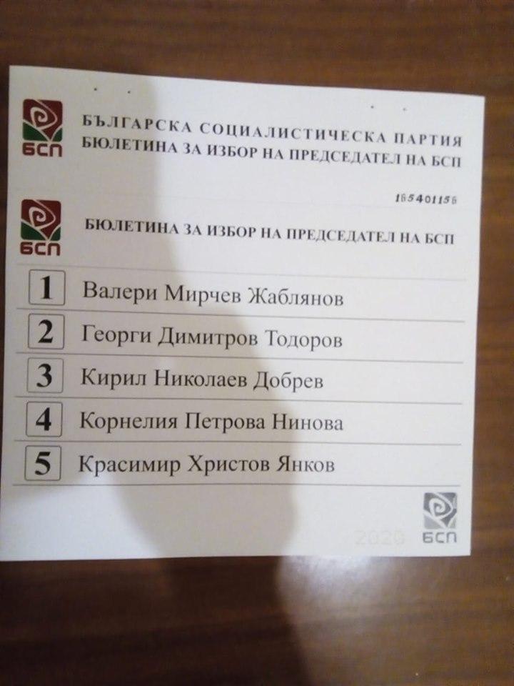 Бюлетината за избор на лидер на БСП.