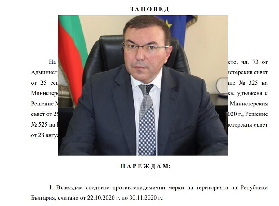 Министър Ангелов заповядва