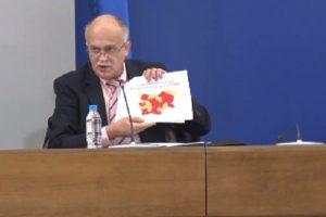 Зам.-министърът на здравеопазването д-р Бойко Пенков показа картата, оцветена в червено