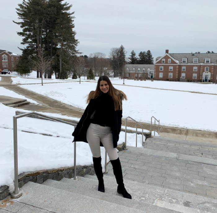 В кампуса в Babson College през зимата