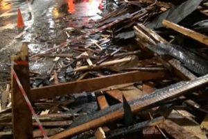 Падналият покрив на сграда в Несебър. Кадри: БНТ