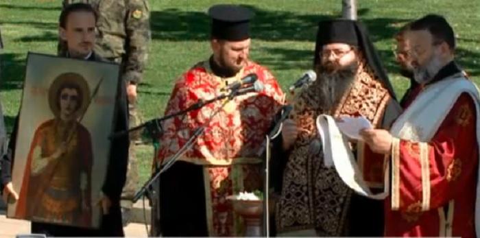 Водосветът на бойните знамена и знамената-светини бе отслужен от Негово Преосвещенство Герасим, епископ Мелнишки, главен секретар на Светия синод на Българската православна църква
