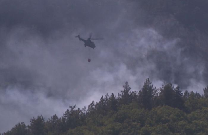 """Вертолет """"Кугар"""" от 24-та авиационна база-Крумово излетя в 12.30 часа днес, за да се включи отново в гасенето"""