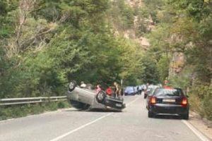 Катастрофа преди Бачково, кола се обърна по таван